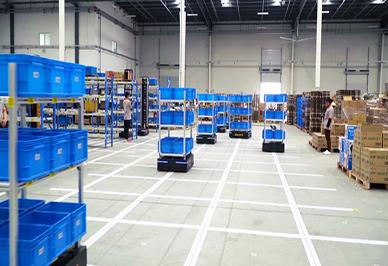 A large e-commerce logistics warehouse